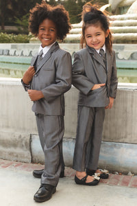 """Teddy B"" Kids Silver Stripe Suit 5-Piece Set"