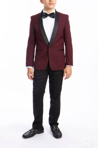 """Trent"" Perry Ellis Kids Burgundy 5-Piece Tuxedo"