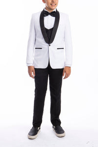 """Trent"" Perry Ellis Kids White 5-Piece Tuxedo"