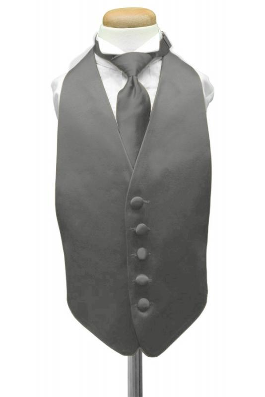 Pewter Luxury Satin Kids Tuxedo Vest