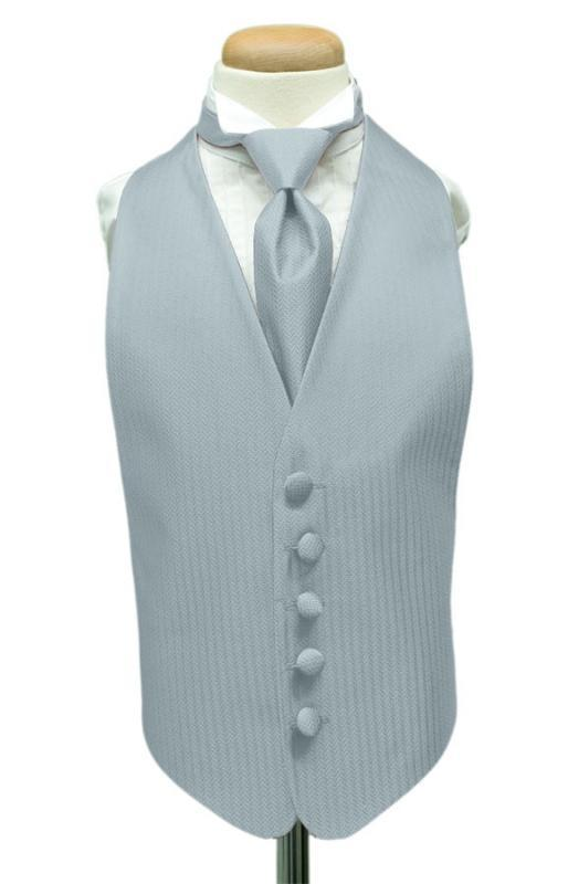 Powder Blue Herringbone Kids Tuxedo Vest