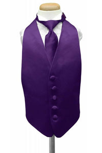 Purple Luxury Satin Kids Tuxedo Vest