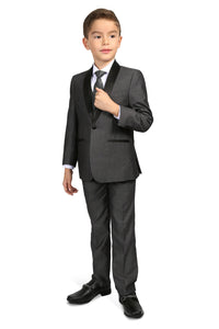 """Reno JR"" Kids Grey Tuxedo 5-Piece Set"