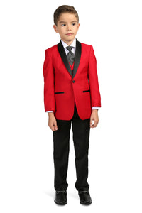 """Reno JR"" Kids Red/Black Tuxedo 5-Piece Set"