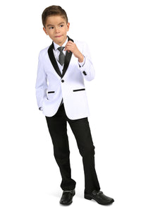 """Reno JR"" Kids White/Black Tuxedo 5-Piece Set"