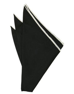 Black Silk with White Hand Rolled Trim Pocket Square