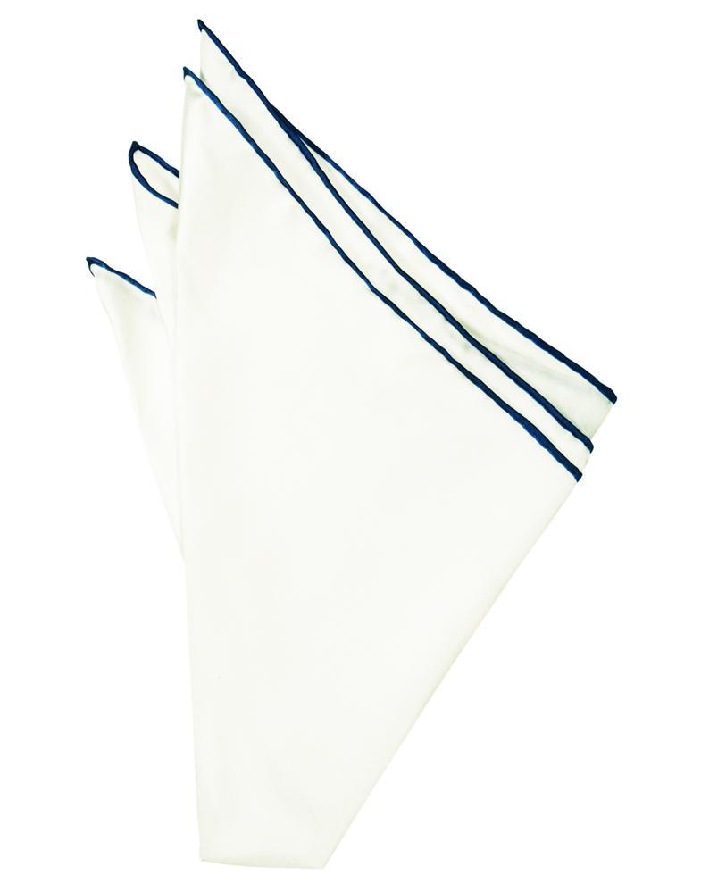White Silk with Blue Hand Rolled Trim Pocket Square
