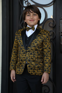 """Jameson"" Kids Gold 1-Button Notch Tuxedo 5-Piece Set"