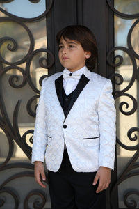 """Jameson"" Kids White 1-Button Notch Tuxedo 5-Piece Set"