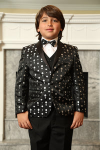 """Weston"" Kids Black 1-Button Shawl Tuxedo 5-Piece Set"