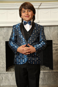 """Weston"" Kids Royal 1-Button Shawl Tuxedo 5-Piece Set"