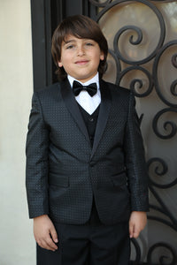 """Asher"" Kids Black Shawl Tuxedo 5-Piece Set"