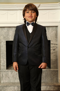 """Asher"" Kids Navy Shawl Tuxedo 5-Piece Set"