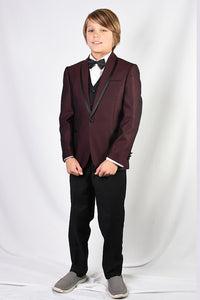 """Caesar"" Kids Burgundy Shawl Tuxedo 5-Piece Set"