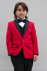"""Encore"" Kids Red Tuxedo 5-Piece Set"