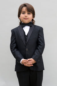 """Brady"" Kids Black Tuxedo 5-Piece Set"
