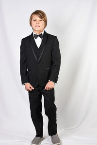 """Genova"" Kids Black Shawl Tuxedo 5-Piece Set"