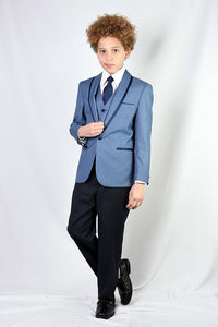"""Genova"" Kids Steel Blue Shawl Tuxedo 5-Piece Set"