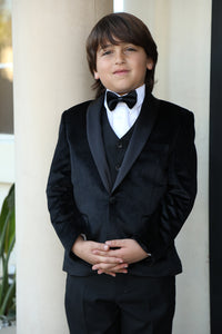 """Legend"" Kids Black Velvet Tuxedo 5-Piece Set"