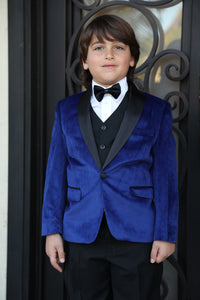 """Legend"" Kids Indigo Velvet Tuxedo 5-Piece Set"