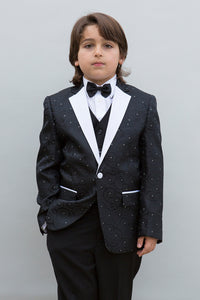 """Bellagio"" Kids Black Tuxedo 5-Piece Set"