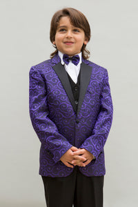 """Bellagio"" Kids Purple Tuxedo 5-Piece Set"