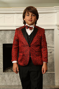 """Bellagio"" Kids Red Tuxedo 5-Piece Set"