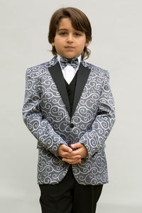 """Bellagio"" Kids Silver Tuxedo 5-Piece Set"