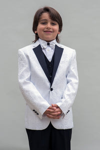 """Bellagio"" Kids White Tuxedo 5-Piece Set"