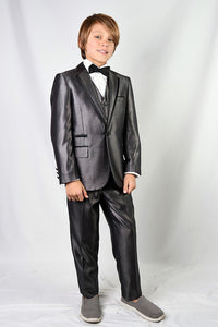 Venetian Grey Kids Notch Tuxedo 5-Piece Set
