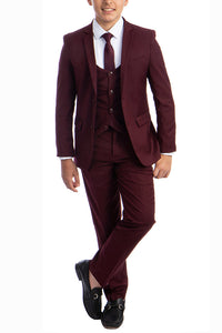 """Noah"" Perry Ellis Kids Burgundy 5-Piece Suit"