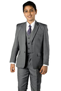 """Jacob"" Kids Mid-Grey 5-Piece Suit"