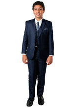 "Load image into Gallery viewer, ""Benjamin"" Kids Textured Navy 5-Piece Suit"