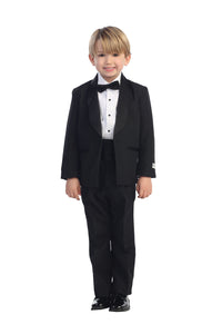"""Alexander"" Kids Black Shawl Collar Tuxedo 5-Piece Set"