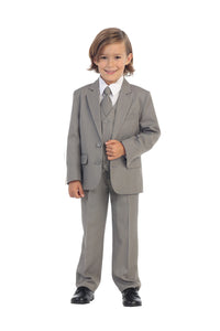 """Charlie"" Kids Light Grey Suit 5-Piece Set"