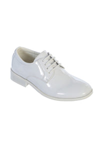 """Carson"" Kids White Tuxedo Shoes"