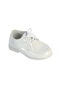 """Berkeley"" Kids White Moc-Toe Oxford Tuxedo Shoes"