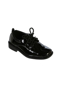 """Lincoln"" Kids Black Square Toe Lace Up Tuxedo Shoes"