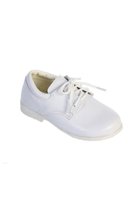 """Vista"" Kids White Matte Round Toe Lace Up Shoes"