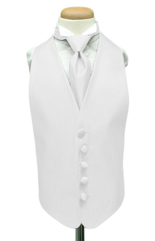 Diamond White Herringbone Kids Tuxedo Vest