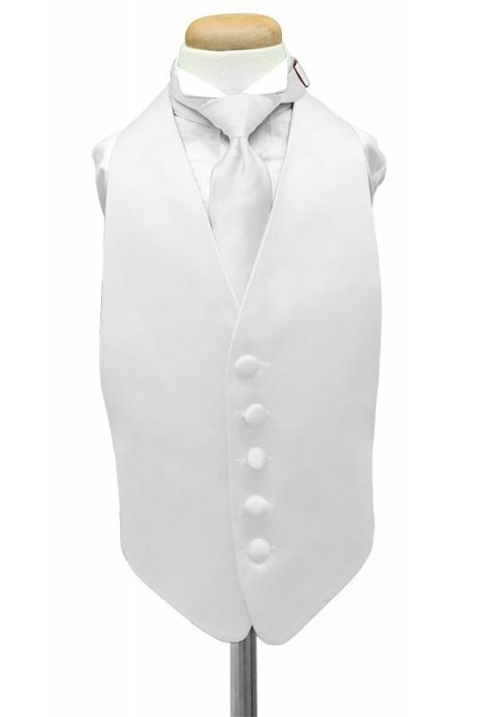White Luxury Satin Kids Tuxedo Vest
