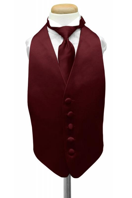 Wine Luxury Satin Kids Tuxedo Vest