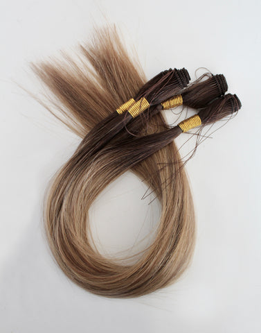 "18"" Hand Tied Wefts - 9/7WBL (Warm Mixed Dark Blonde)"
