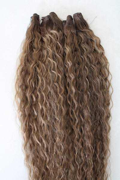"22"" Hand Tied Wefts - Deep Wave - 8/6WB (Warm Mixed Medium Brown)"