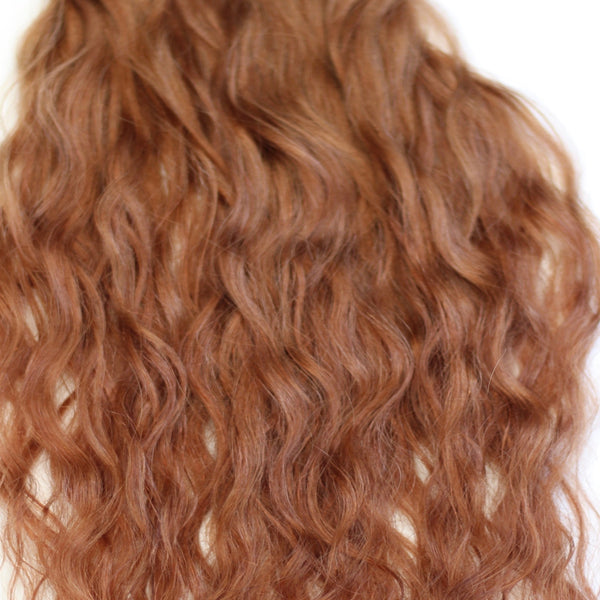"22"" Beach Wave Hand Tied Wefts- 6CB(Copper Brown)"