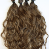 "22"" Beach Wave Hand Tied Wefts- 8N (neutral Light Brown"