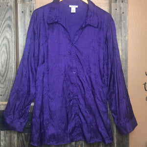 65ee0390816 Maggie Barnes for Catherine s Women s Size 2X Button Front Blouse  Embroidered Purple