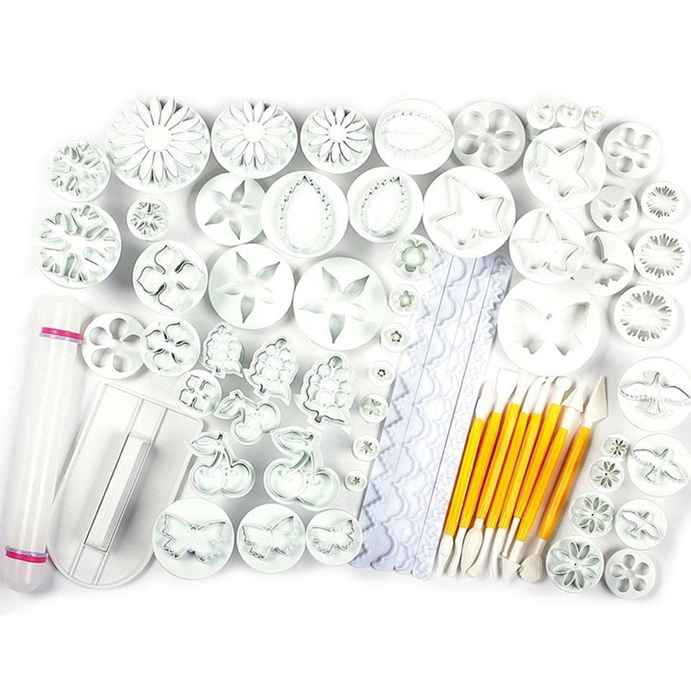 68 pieces Cake/Cookie Decorating Sugarcraft Cutters, smoothers & Plungers - Flower Leaf Shapes