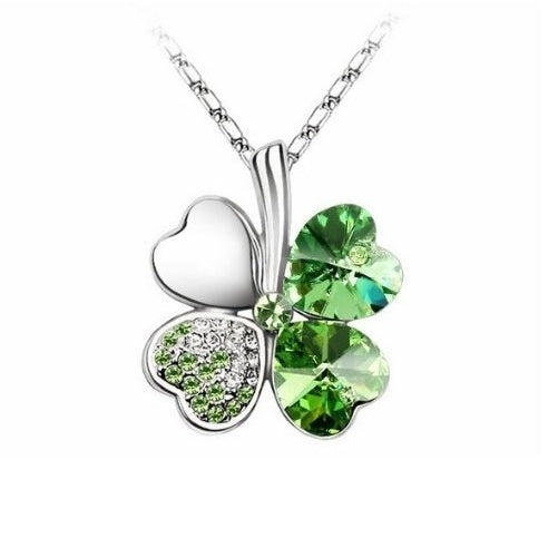 Peridot Green - Swarovski elements crystal four leaf clover pendant necklace