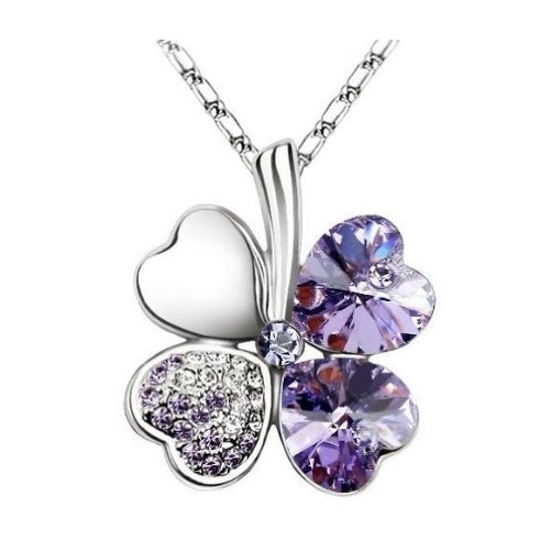 Tanzanite Purple - Swarovski elements crystal four leaf clover pendant necklace